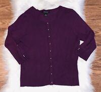 White House Black Market Medium Cardigan Sweater Purple Silver Snap 3/4 Sleeve