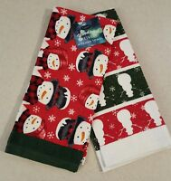 St Nicholas Square SET of 2 Hand Towels SNOWMAN Woodland Retreat RED GREEN New