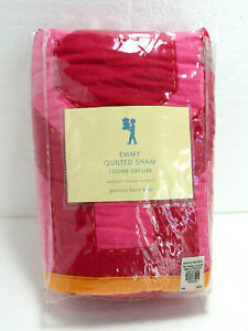 New POTTERY BARN KIDS Pink Standard Sham Emmy Quilted 6416 100% Cotton Geometric