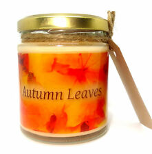 Autumn Leaves design, 190ml Scented Jar Candle, Soy Wax, gift, Wicca, Halloween