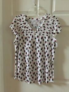 Liz Claiborne Women's XLT Short Sleeve V-Neck White Multi Linen Blend Blouse $37