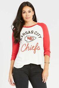 Junk Food NFL Womens Kansas City Chiefs City Of Fountains Raglan Shirt NWT