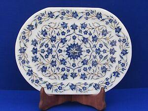 Marble Tray Plate lapis White stone Inlay Pietra dura handmade Home Decor