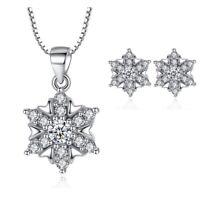 925 Sterling Silver Stud Earrings Snowflake Pendant Necklace Womens Jewellery UK