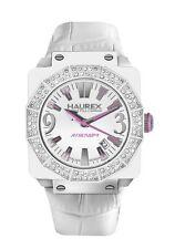 Haurex Italy Women's 8W372DWW Athenum Aluminum White PVD Swarovski Crystal Watch