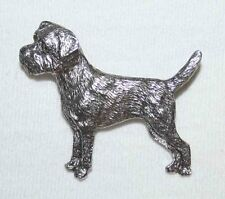 Border Terrier Dog Fine PEWTER PIN Jewelry Art USA Made