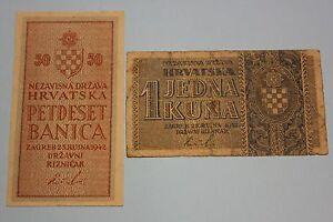 1942 CROATIA 50 BANICA & 1 KUNA LOT 2 BANKNOTE