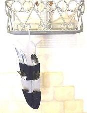 CUISINE PORTE RANGE COUVERT TISSU POISSON 12 POCHES GRIS BLEU COTON LAVABLE