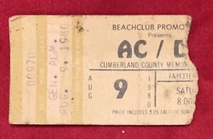 Vintage 1980 ACDC Concert Ticket Stub Fayetteville NC Early Rock Music AC / DC