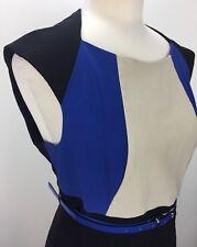 Basque Size 16 Petite Women's Works Formal Dinner Sheath Dress Black Blue Colour