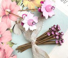 Vintage Miriam Haskell Rhinestone Headpins, Vintage Headpins, Pink #1331