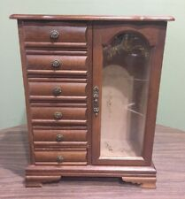 VTG Wood Jewelry Box 6 Drawer Stained Glass Flower Door Necklace Rack Dark Wood