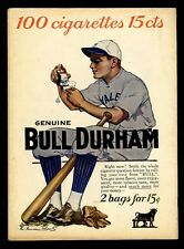 BASEBALL PLAYER ENDORSES GENUINE BULL DURHAM CIGARETTES TOBACCO ROLL YOUR OWN