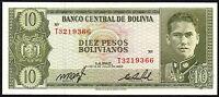 1962 Bolivia 10 Pesos Boliviano Banknote * T 3219366 * UNC * P-154a *
