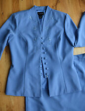 Women's VIRGO 2pc formal light blue Lined button/stitched/sequin Jacket Skirt 12