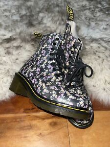 Dr Martens Docs Floral Flower Clemency Mini Tydee Leather Heeled Boots  Size 6