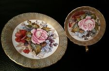 --AYNSLEY-ENGLAND-HANDPAINTED  CUP and SAUCER with PINK ROSEs and GOLD--