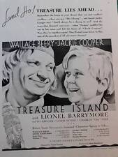 Vintage Movie ad Treasure Island Wallace Berry Jackie Cooper 1934