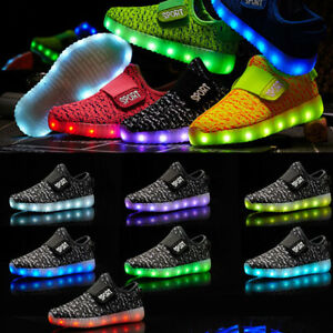 USB Charging Light up Luminous Sneakers Kids Casual Shoes 7 LED Colors New