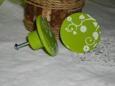 Lot de 2 boutons ou  de poignée porte , rond vert à fleurs,  plastique