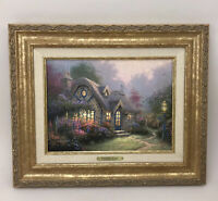 Thomas Kinkade Candlelight Cottage Canvas Painting 17.5 x 14.5 Frame with COA