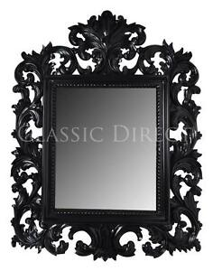 Large Mirror 178x128cm Rococo Mahogany Hand Carved Black Gloss SRP$1200