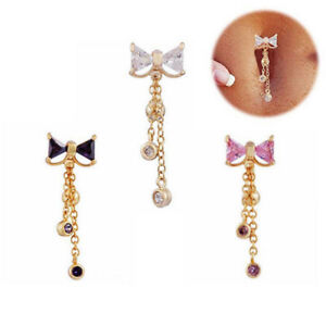 Belly Bar Surgical Steel Double Crystal Gem Navel Bar Button Ring Belly Bars #UK