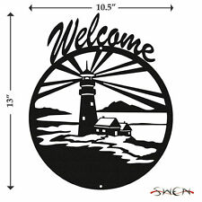 Swen Products Lighthouse Nautical Black Metal Welcome Sign