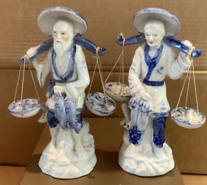 Vintage Chinese Porcelain Pair Of Figurines Fish & Veg Carriers