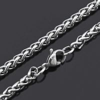 """22"""" MENS Stainless Steel Wheat Braided Chain Necklace 3mm"""
