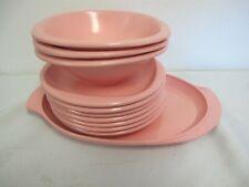 Vintage Mid Century Boonton Ware Pink Melmac Plates Bowls Platter 11 Pcs