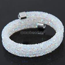 Women Fashion Silver Plated White Rhinestone Stardust Bangle Bracelet Jewelry