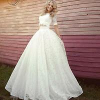 Women Lace Two Piece Half Sleeve Wedding Dress Bridal Ball Gown Custom Plus Size
