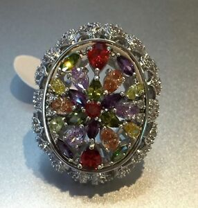 18k White Gold Large Ring made w Swarovski Crystal Multicolor Stone Bold Ring