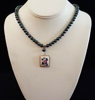 Necklace Pearls Painted Flowers Pendant 925 Sterling Silver Accents Handmade USA