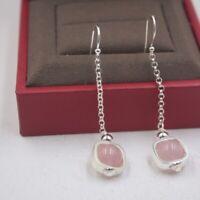 Pure 925 Sterling Silver Drop Earrings Natural Strawberry Quartz Drop Earrings