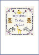 CROSS Stitch greeting card per una nuova nascita in blues-KIT COMPLETO su 16 AIDA