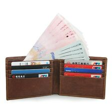 Augus Men's RFID Blocking Leather Bifold Wallet with Front Pocket Card Holder