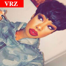 VRZ Human Hair Wigs Pixie Cut Short Straight Brazilian Hair Wig Black Color 1b