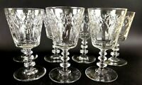 Set of 7 Cut Crystal Wine Glasses Stacked Stem Star Petal Design Floral Clear