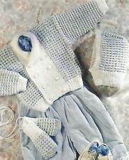 "Baby Boys Jacket Balaclava Mitts Knitting Pattern DK 16-22""  615"