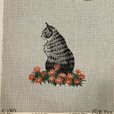 B. Fox Handpainted Needlepoint Canvas Cat In Flowers