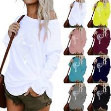 Women Casual Printed One Shoulder Long Sleeve Blouse Tops Irregular Ladies Tunic