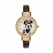 NEW Womens Minnie Mouse Disney Watch Gold Leopard Print Cuff Bangle SHIPS FREE