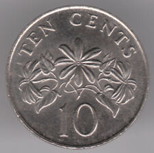 Singapore 10 Cents 1986 Copper-Nickel Coin - Star Jasmine Plant