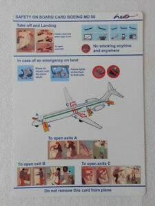 SAFETY CARD HELLO AIR SWITZERLAND MD-90 EARLY CARDBOARD