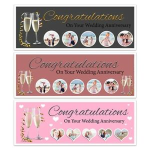PERSONALISED CHAMPAGNE PHOTO COLLAGE BANNER ANNIVERSARY WALL DECORATION XL