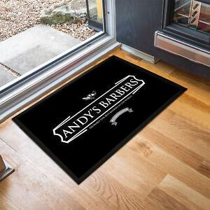 Personalised Black Barbers Shop any name Door mat 60 x 40 cm room mat bar mat