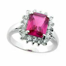 925 Silver Rectangle Created Pink Sapphire & CZ Ring Si