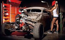 "Classic Hot Rod Engine Blower performance Mini Poster 24"" x 16"""